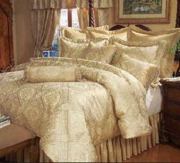 9 Piece Gold Imperial Bedding Comforter Set Queen size, HIGH