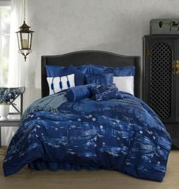 Chezmoi Collection 9-Piece Japanese Blue Jacquard Oversized