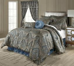9pc Blue Jacquard Paisley Medallion Oversized Comforter Set
