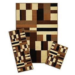 Achim Home Furnishings 3 Piece Capri Rug Set, 5 by 8', Conte