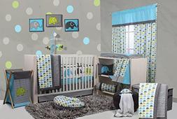 Bacati Elephants Crib Set with Bumper Pad, Aqua/Lime/Grey