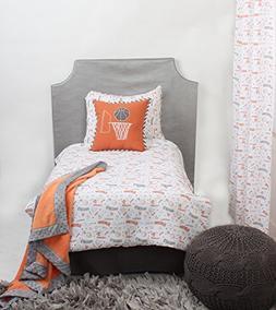 Bacati Muslin 4 Piece Toddler Bedding Set, Basketball/Orange