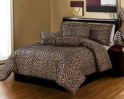 Black / Brown Comforter Set Leopard Print Microfur Bed In A