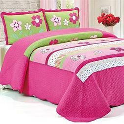 Brandream Pink Girls Patchwork Quilt Set Kids Comforter Bedd