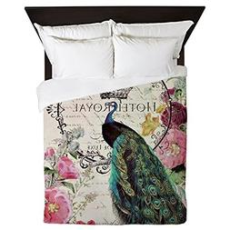 CafePress - Peacock and Spring Flowers - Queen Duvet Cover,