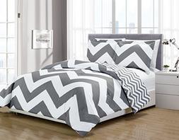 Chezmoi Collection 2-piece Chevron Zig Zag Comforter Bedding