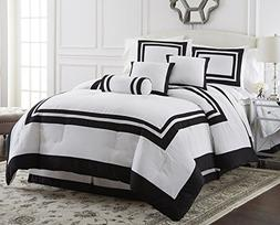Chezmoi Collection 7 Piece Caprice Square Pattern Hotel Comf