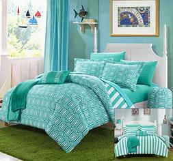 Chic Home 10 Piece Paris Reversible Geometric and Striped Co