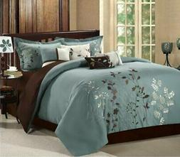 Chic Home Bliss Garden 12-Piece Comforter Set, King, Beige