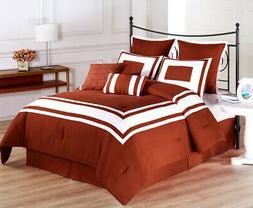 Cozy Beddings Lux Decor Collection 8-Piece White Stripe Comf