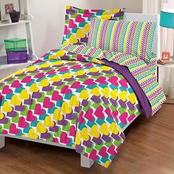 Dream Factory Casual Rainbow Hearts Comforter Set, Twin, Mul
