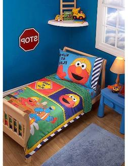 Elmo Sesame Street Toddler Bedding Set - 4pc Construction Cr