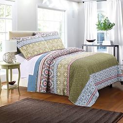 Greenland Home 3 Piece Shangri-La Quilt Set, Full/Queen