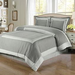 Hotel Gray & Light Gray 4PC Comforter Set, Elegant and Conte