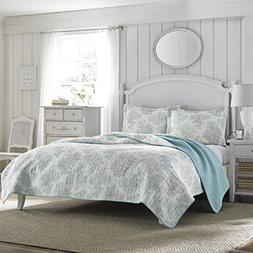 Laura Ashley Reversible Quilt Set, King, Saltwater Blue