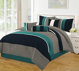 Luxlen 7 Piece, Closeout Luxury Bed in Bag Comforter Set, Qu