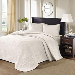 Madison Park Quebec King Size Quilt Bedding Set - Ivory, Dam