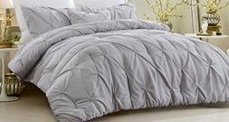 NEW - 4 Piece Pinch Pleat Comforter Set Gray King/California