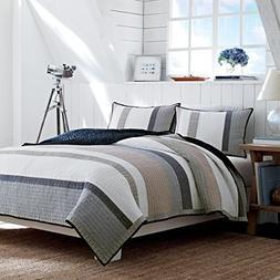 Nautica 201248 Cotton Reversible Quilt, King, Tan/Grey