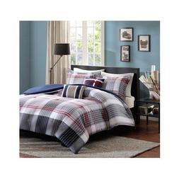 Red Blue Grey Plaid Comforter Boys Teen Bedding Set Pillow