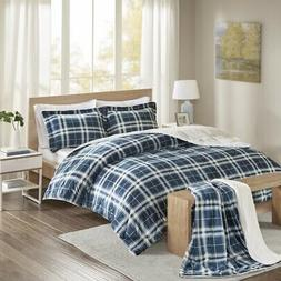 Comfort Spaces Aaron Plaid Print Sherpa Comforter Set with T