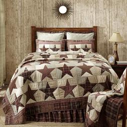 Abilene Star Quilt Tan,Brown & Red Patchwork King or Queen C