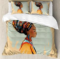 Ambesonne African Woman Duvet Cover Set King Size, Watercolo