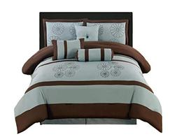 AHF Embroidered Queen 7-Piece Comforter Set with Bag, Aqua/B