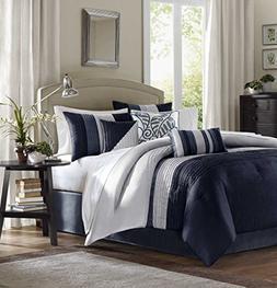 Amherst 7 Piece Comforter Set, Queen, Navy