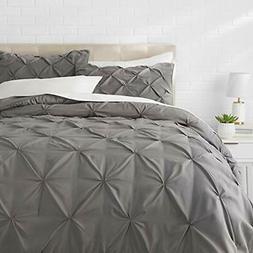 """AMS Pinch Pleat Comforter Set - Full/Queen, Dark Grey Home """""""