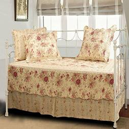Antique Rose Daybed Set 5 Piece Quilted shams cotton skirt c