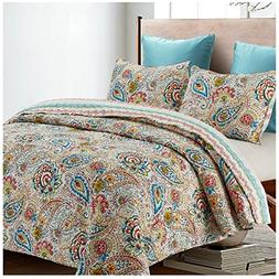 Anushka Reversible Quilt Set, Bright Floral Paisley Pattern,