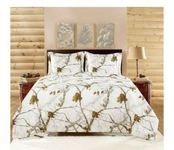 Realtree APC 3 Piece Comforter Set, Queen, Bright Snow