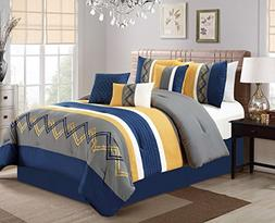 Chezmoi Collection Arden by 7 Pieces Modern Pleated Stripe E