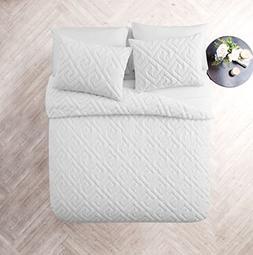 VCNY Home Artemis 3 Piece Comforter Set, King, White