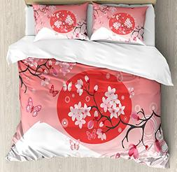 Ambesonne Asian Duvet Cover Set Queen Size, Japanese Cherry