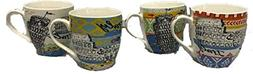 Ashley Gifts ZPX15098 Italy Mugs Assorted Design Set of 4, 5