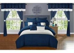 Vixen 24 Piece Comforter Set Navy Blue Size:Queen