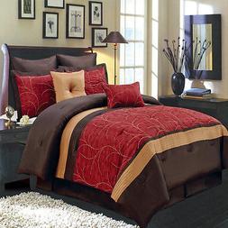 Atlantis Red Gold Chocolate Luxury 8 PC Comforter Set 100% P