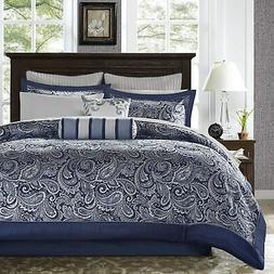 Aubrey 12 Piece Complete Bed Set Navy Cal King