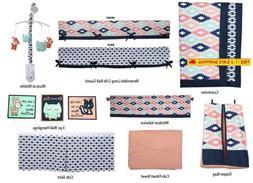 Bacati Aztec Emma Unisex 10 Piece Crib Bedding Set, Coral/Mi