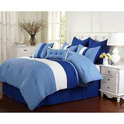 OSD 8pc Baby Blue White Stripe Theme Comforter Queen Set, Gi
