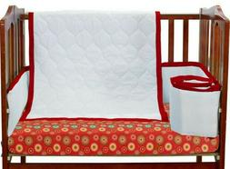 Baby Doll Medallion 3 Piece Cradle Bedding Set, Red - NEW Bu
