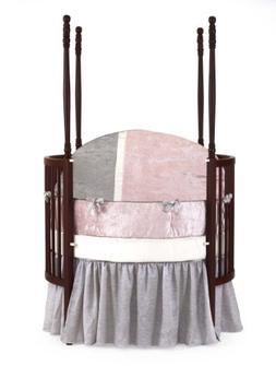 Baby Doll Bedding Round Crib Bedding Set, Pink, 4 Piece