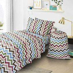 Bag Bedding Comforter Set, Twin/X-Large, Zig/Zag, 6 Piece Ho