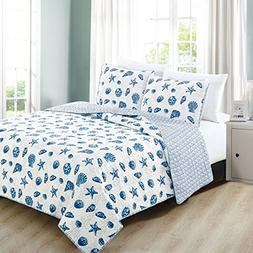 3-Piece Coastal Beach Theme Quilt Set with Shams. Soft All-S