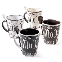 Mr Coffee 8 Piece Bareggio Mug and Spoon Set NA Black/White