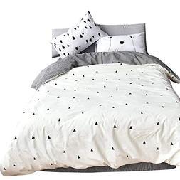 KEY WARM-Bear Duvet Cover Sets Triangle Print Comforter Cove
