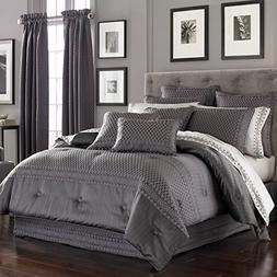 Five Queens Court Beaumont 4 Piece Comforter Set, Queen, Gra