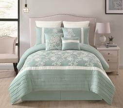 BEAUTIFUL SAGE  EMBROIDERED FLORAL COMFORTER 8 PCS KING QUEE